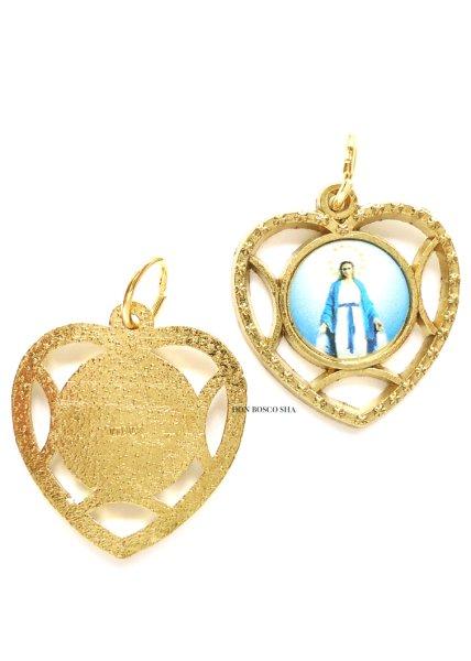 画像1: メダイ 無原罪の聖母 ハート型金縁 (1)