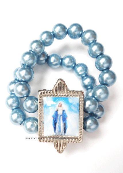 画像1: 指輪 テグス パール調 無原罪の聖母 ブルー (1)