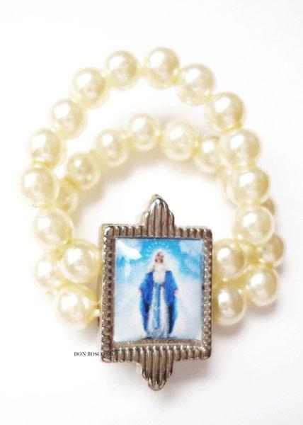 画像1: 指輪 テグス パール調 無原罪の聖母 ホワイト (1)