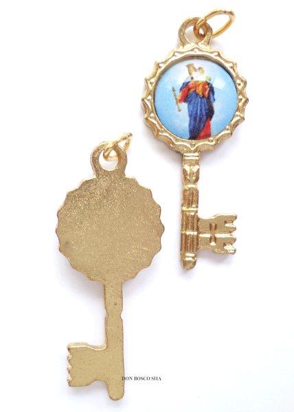 画像1: メダイ 扶助者聖母 鍵型 (バックブルー) (1)