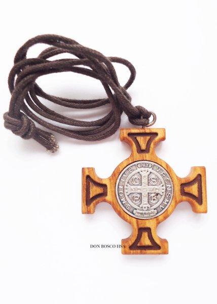画像1: ペンダント オリーブ製 聖ベネディクトの十字架 (1)