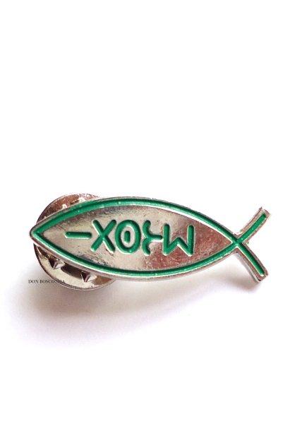 画像1: ピンバッチ 魚型 イクトゥス 緑 (1)