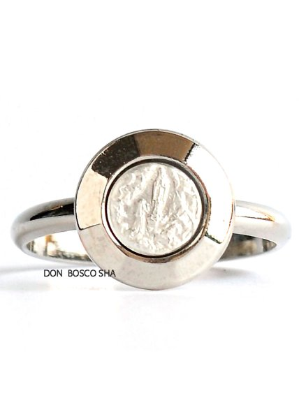 画像1: 指輪 ルルドのマリアと聖べルナデッタ 銀色A (大) (1)