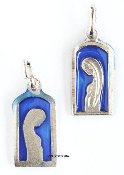画像1: メダイ 聖母 四角型 中青色 銀色 (1)