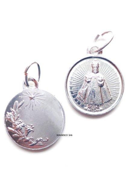 画像1: フランス製メダイ サント・ニーニョ アルミニウム製 銀色15mm (1)