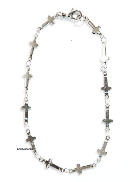 画像1: ブレスレット 十字架珠 銀色 (1)