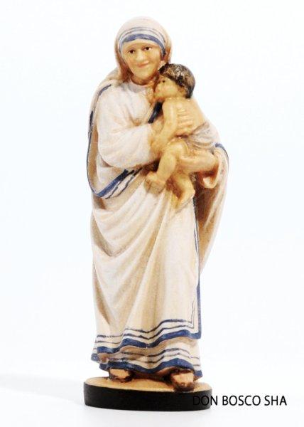 画像1: 木彫り マザー・テレサ像 10cm 色付 (1)