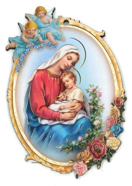 画像1: 壁掛板絵  聖母子 (1)