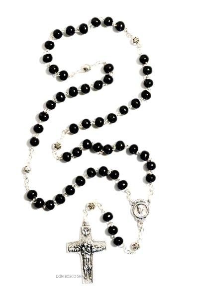 画像1: ロザリオ 木製珠 黒 教皇フランシスコ十字架 (1)