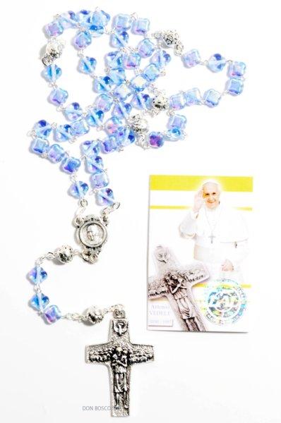 画像1: ロザリオ パール調クリア十字型珠 フランシスコ教皇十字架 ブルー ご絵付き (1)