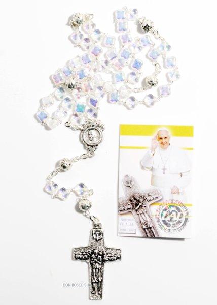 画像1: ロザリオ パール調クリア十字型珠 フランシスコ教皇十字架 クリア ご絵付き (1)