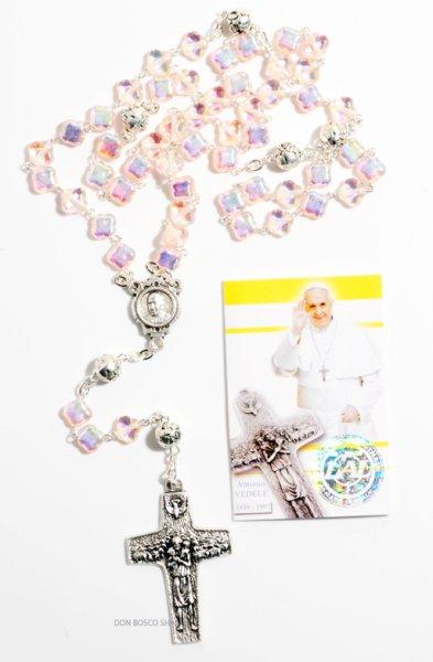 画像1: ロザリオ パール調クリア十字型珠 フランシスコ教皇十字架 ピンク ご絵付き (1)