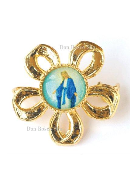 画像1: ブローチ 無原罪の聖母 花型 (1)
