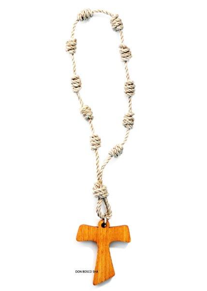 画像1: ミニロザリオ 紐編み オリーブ製タウ十字架 (1)