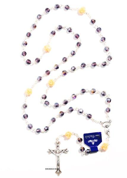 画像1: ★ロザリオ ガラス6mm珠 神秘ばら珠 紫★ (1)