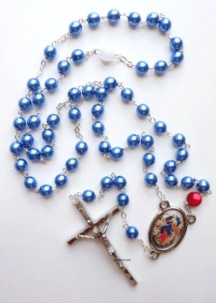 画像1: ロザリオ 結び目を解く聖母マリア パール調 ブルー NB (1)