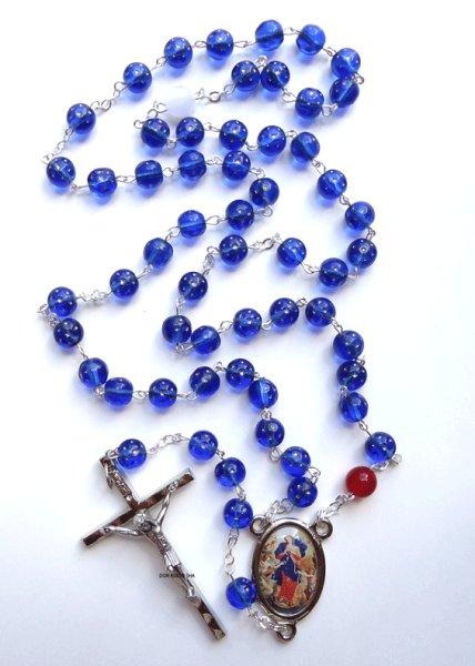 画像1: ロザリオ 結び目を解く聖母マリア ガラス珠 紺色星印NB (1)