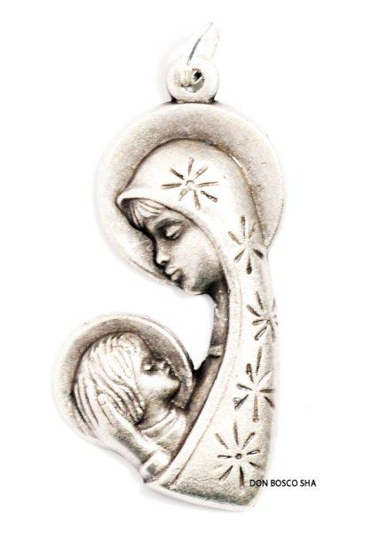 画像1: メダイ 型抜き聖母子後光 銀色 (左向) (1)