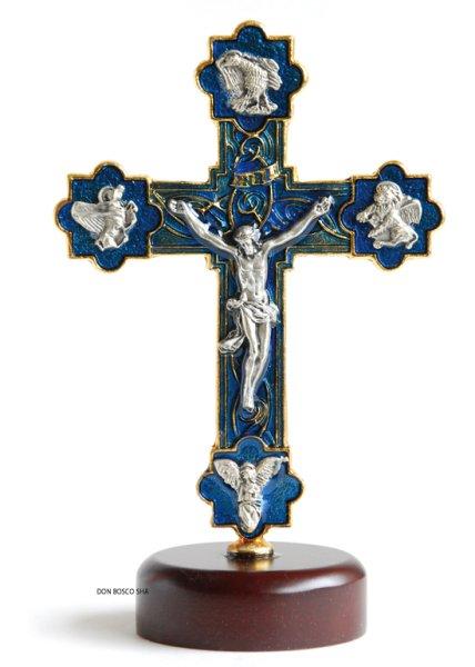 画像1: 卓上十字架 金属製 四福音書 青 H14cm (1)