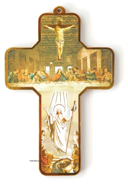 画像1: 板絵 壁掛け十字架 最後の晩餐 (1)