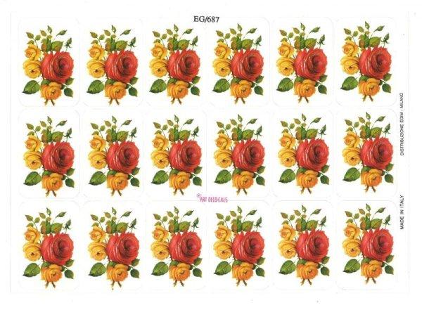 画像1: イタリア製シール 花(バラ) EG687 (1)