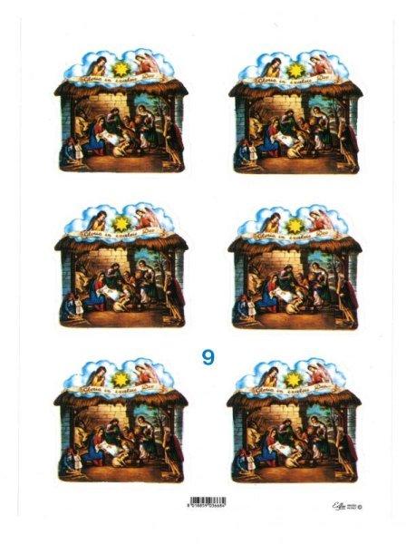 画像1: イタリア製クリスマスシール 馬小屋型 (1)