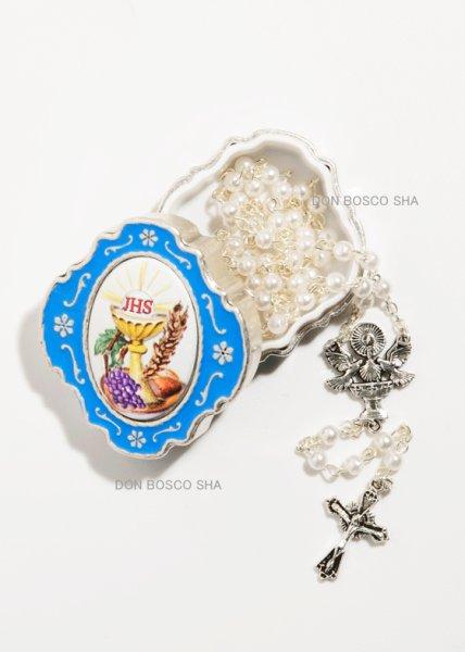 画像1: ★ロザリオ 初聖体 ケース入り パール調4mm珠白 カリスと聖体 カラー 水色★ (1)