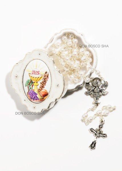 画像1: ★ロザリオ 初聖体 ケース入り パール調4mm珠白 カリスと聖体 カラー 白★ (1)