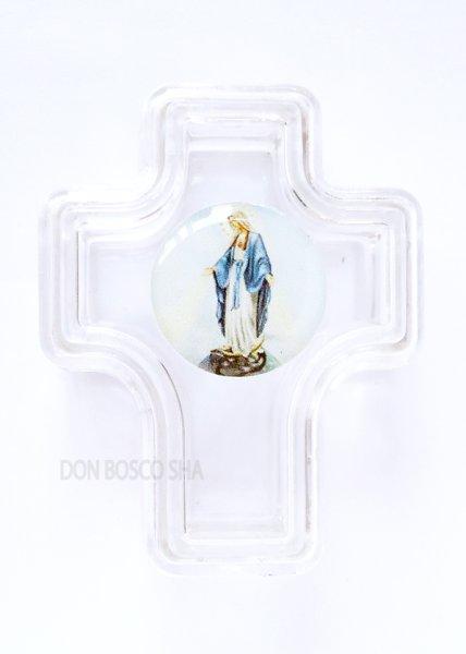 画像1: 小物入れ 無原罪のマリア 十字架型 クリア (1)