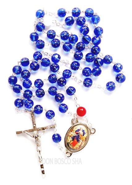 画像1: ★ロザリオ 結び目を解く聖母マリア ガラス珠 紺色星印 NB★ (1)