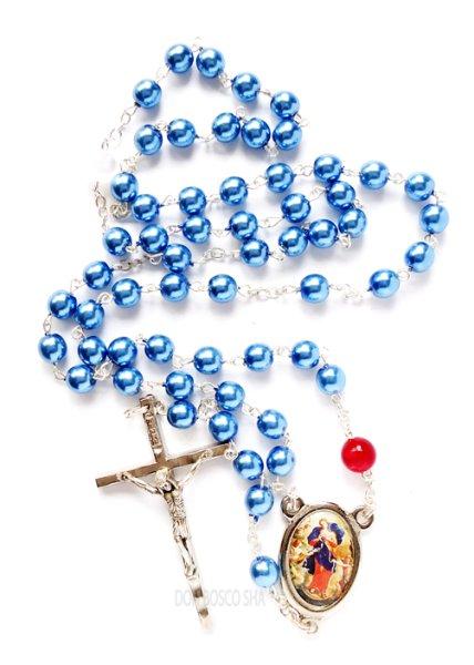 画像1: ★ロザリオ 結び目を解く聖母マリア パール調 ブルー NB★ (1)