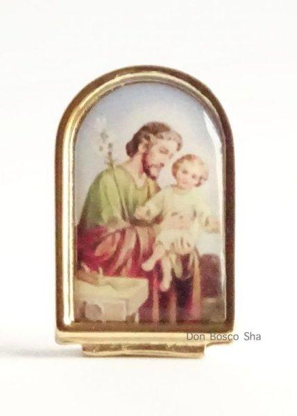 画像1: 卓上置物 聖ヨセフ カラー 金縁 (1)