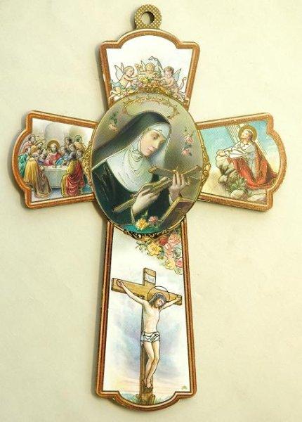 画像1: 板絵十字架 聖女リタNB (1)