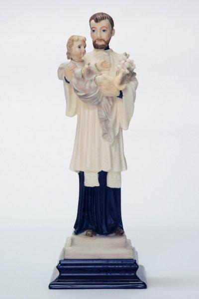 画像1: プラストマーブル製 聖ガエタノ像 カラー (木製台座) 20.5cm (1)