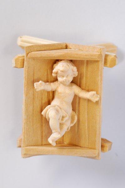 画像1: 木彫り 幼子(馬舟付き) 白木 3.5cm  (1)