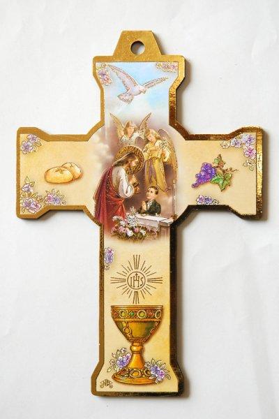 画像1: 板絵 壁掛け十字架 初聖体 男の子 (1)
