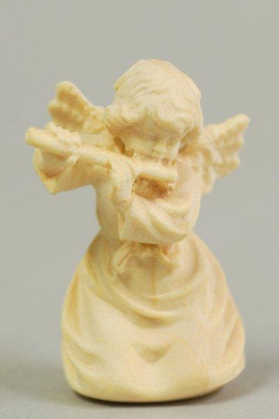 画像1: 小さな木彫り天使像 横笛の天使 白木 45mm   (1)