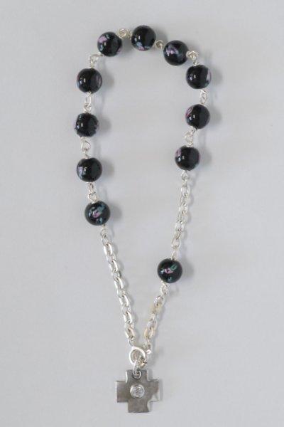 画像1: ロザリオブレスレット シルバー&ベネチアンガラス珠 ばらの絵付 黒 (1)