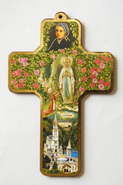 画像1: 板絵 壁掛け十字架 聖ベルナデッタとルルドの聖母 (1)